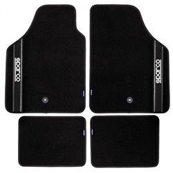 Sparco 03763BNR Set 4 tappeti in moquette neri con banda nera